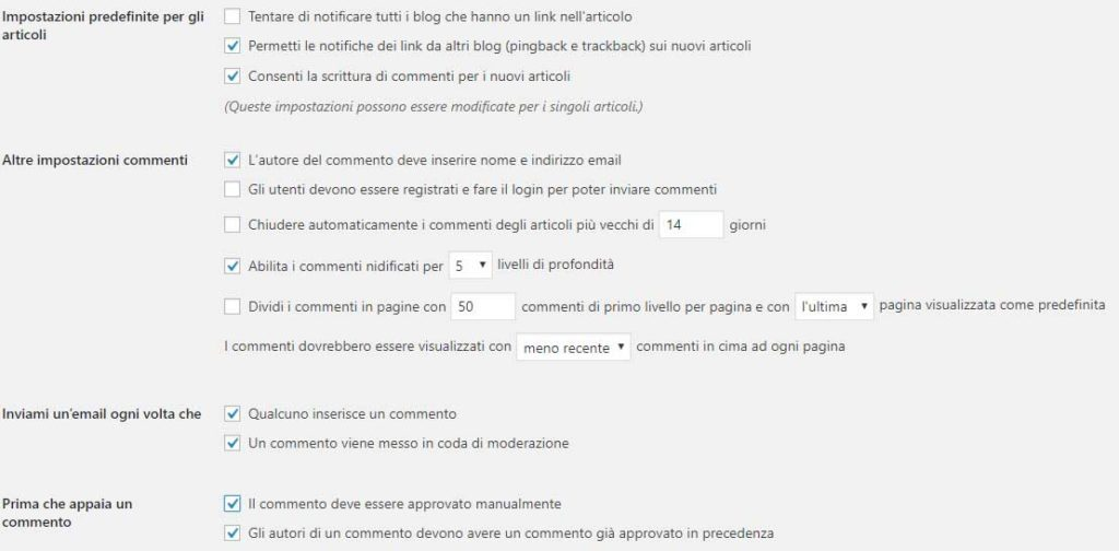 Impostazioni discussioni wordpress antispam